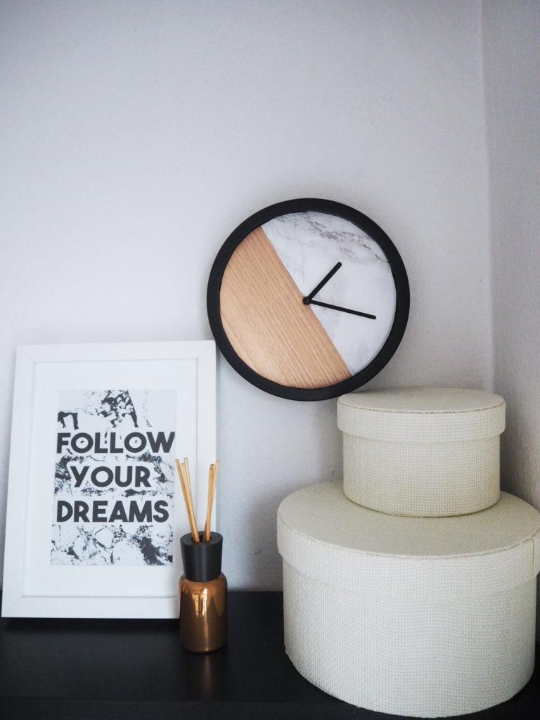 upcycling diy minimalistische marmor kupfer uhr. Black Bedroom Furniture Sets. Home Design Ideas